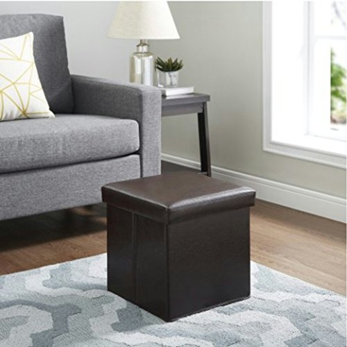 Mainstays Collapsible Faux Leather Storage Ottoman, Dark Brown