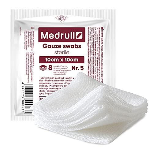 Medrull Mullkompressen Sterile 100 Stück (20x 5 Stück), 8-lagig sterile kompressen 10cm x 10cm – Verbandsmaterial, Wundkompressen, Mullbinden, Gaze Wundauflage
