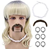Tiger King Joe Exotic Costume Wig (Wig + 6 Earrings + Shell Necklace + Mustache)