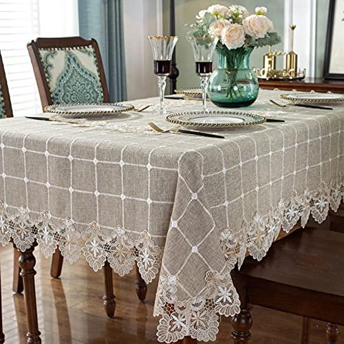 PhantasyIsland.com Mantel Rectangular de Lino y algodón, Resistente a la Suciedad, a Rayas, para decoración de Mesa de Comedor o Cocina, 130 * 130cm