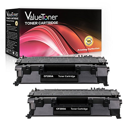 ValueToner Compatible 80A Toner Cartridge Replacement (2 Black) for HP 80A CF280A High Yield for HP LaserJet Pro 400 M401n M401dne M401dn M401dw,HP LaserJet Pro 400 MFP M425dn M425 M425dw Printer
