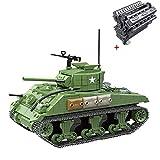 Batop Sherman M4A1 - Juego de 990 piezas de construcción para tanque de juguete compatible con bloques de construcción militares