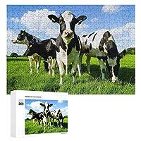 300ピース ジグソーパズル パズル 木製パズル 飾り画 牧草地 牛柄 参考図付き 減圧玩具 頭脳練習 創造力 知育 子供 大人 ギフト プレゼント puzzle