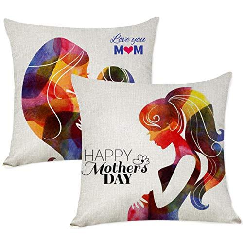 XIECCX Throw Pillow Covers 18x18 Set of 2 Pillow for Best Mom Grandma Home Decor Countryside Linen Cotton Cushion Cover for Sofa Porch Garden Hidden Zipper