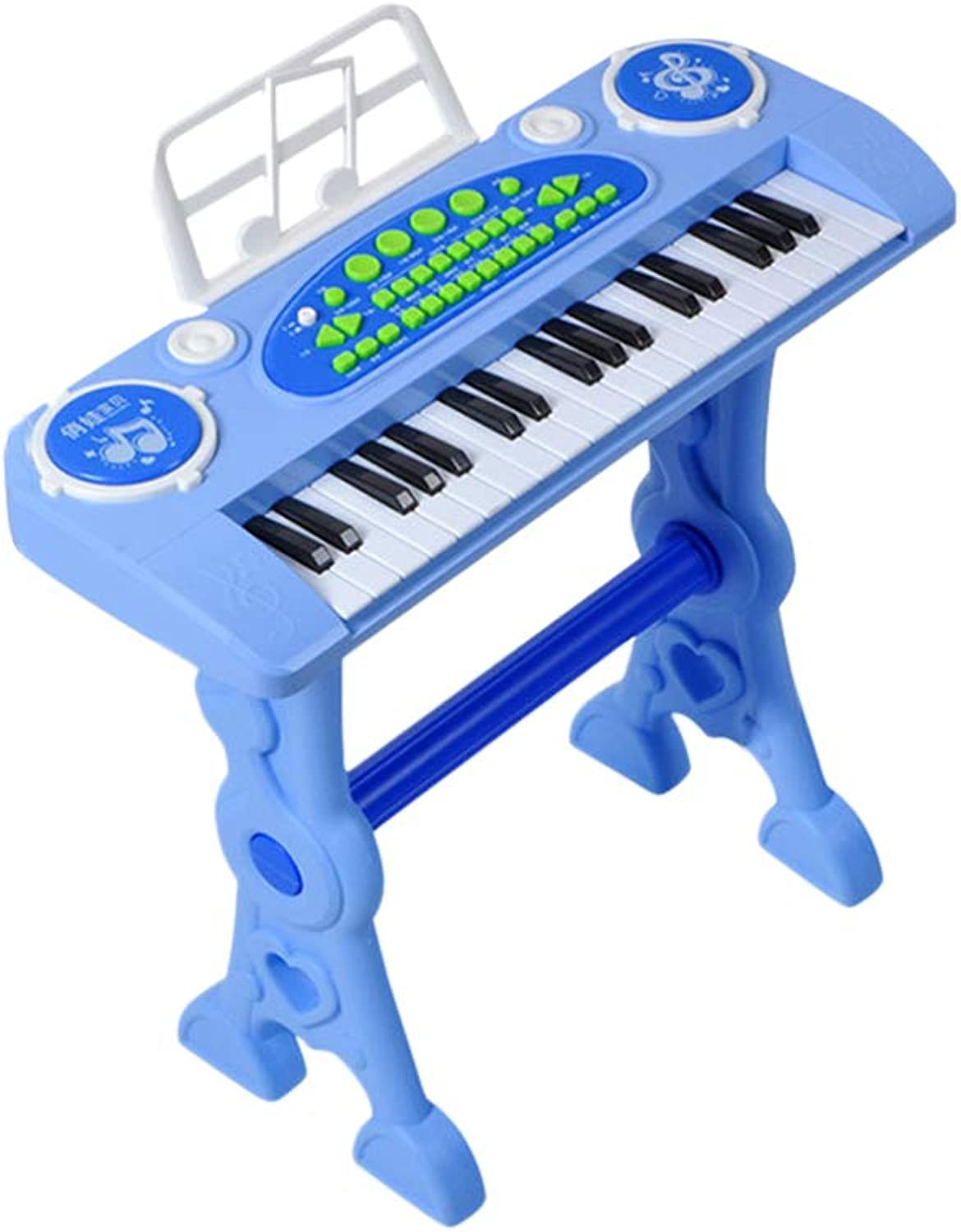 Toyvian 37 Key Keyboard Piano with Microphone and Stool Electronic Keyboard Music Instrument for Kids Toddlers Girls Boys Gifts with US Plug(bluee)