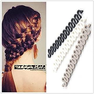 3Pieces(Black+Grey+White) Women Hair Styling Clip DIY French Hair Braiding Tool Roller Bun Maker Hairstyle Braid Tool Twist Plait Hair Braiding Tool Hair Accessories Salon