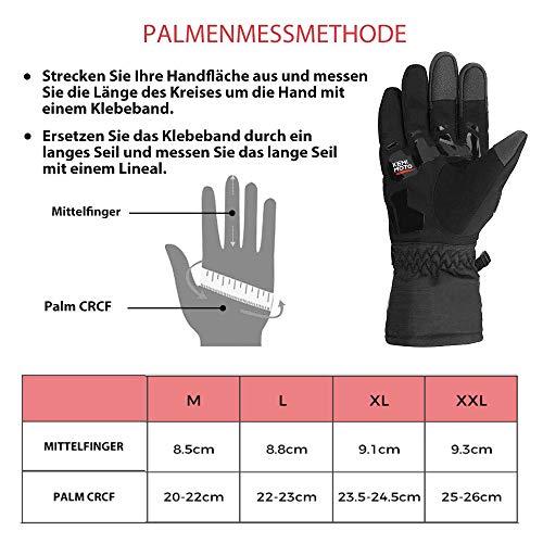 Motorrad Handschuhe Winter Warm Handschuhe Touch Screen Wasserdicht Winddicht Sporthandschuhe ( XL,Schwarz) - 7