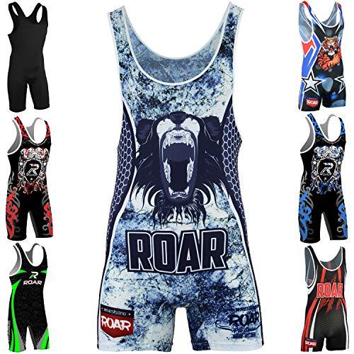 Roar American Tiger Wrestling Singlet Stretch Bodysuit Sports Wear (Loin, Large)