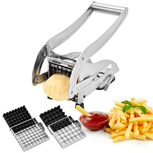 """French Fry Cutter, CUGLB Food-grade Stainless Steel Fry Cutter with 3/8"""" and 1/2"""" Blades Non-Slip Potato Cutter for French Fries"""