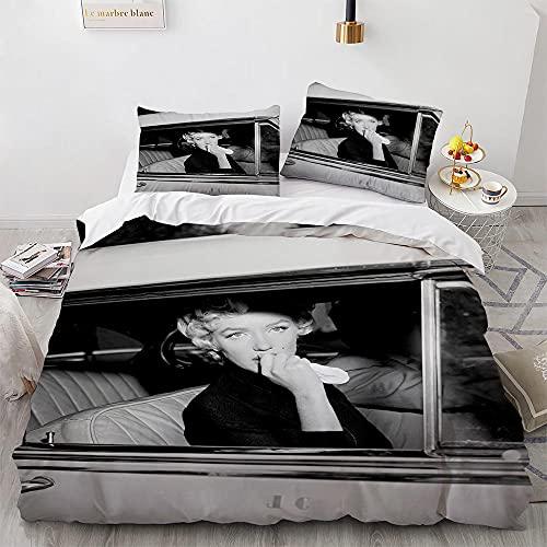 NDJTDL Juego de Cama de Marilyn Monroe 3D, Juegos de Fundas nordicas para Cama 3 Piezas, Microfibra Poliéster, con Cierre de Cremallera, Funda de edredón de Suave 220×240 cm+ 6 Fundas de Almohada