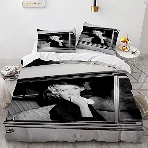 NDJTDL Duvet Cover Set 3D Marilyn Monroe Printed Bedding Set, Ultra Soft Easy Care Hypoallergenic Microfiber Quilt Cover Single Size 220x240 cm with Zipper Closure + 2 Pillowcases 50x75 cm