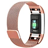 Bracelet de Rechange Compatible pour Fitbit Charge 2, en Acier Inoxydable, réglable,...