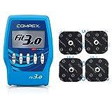 Compex Fit 3.0 Elettrostimolatore, Blu & Cefarcompex - Elettrodi Performance Snap 5X5 Cm