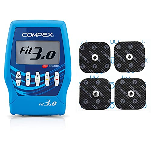 Compex Fit 3.0 Electroestimulador, Unisex, Azul + 6260760 Electrodos Easysnap Performance, 5 X 5 cm, Pack de 4