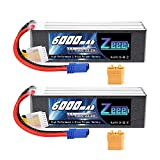Zeee 6S Lipo Battery 22.2V 100C 6000mAh with EC5 and XT90 Connector RC Battery for RC Car Truck RC Airplane Helicopter Quadcopter Boat (2 Packs)