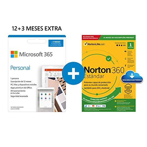 Microsoft 365 Personal | Apps Office 365 | PC/MAC/tableta/teléfono | 12+3 Meses + NORTON 360 Standard | 15 Meses | PC/Mac - Código de activación enviado por email