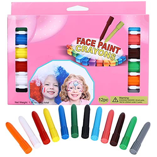 Crayones de plástico, lavables, aptos para la piel, 12 unidades/caja, lápices de colores para niños, giratorios, para juegos de fútbol, para maquillaje de Halloween, para deportes para