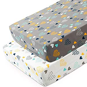 crib bedding and baby bedding cosmoplus knitted crib sheet set -2 pack stretchy crib sheets for boys girls,universal knit fitted for standard baby toddler crib,heart pattern