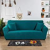Carvapet Elastischer Sofabezug Sofahusse Gestrickte Couchbezug Sofa Couch Überwürf Couchhusse Schutz für Sofa(Blau,2 Sitzer)