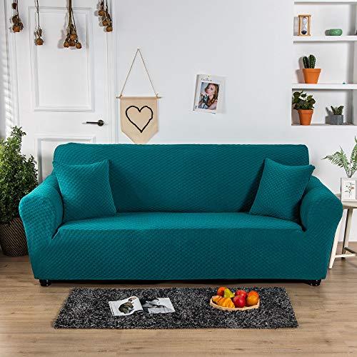 Carvapet Elastischer Sofabezug Sofahusse Gestrickte Couchbezug Sofa Couch Überwürf Couchhusse Schutz für Sofa(Blau,3 Sitzer)