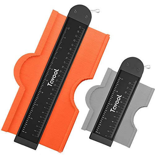Contour Gauge with Lock - Tavool Contour Gauge Profile Tool 2 Pack (10 inch + 5 inch) Copy Irregular Shape Duplicator Must Have Tool for DIY Handyman Contour Rulers Woodworking Project Construction