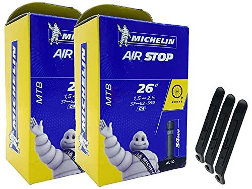 pneugo! Michelin 37-559/62-559 C4 - Juego de 2 cámaras de aire para bicicleta (26', válvula de aire parada, MTB) y 3 desmontadores