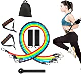11PC Premium Resistance Bands Set, Workout Bands - with Door Anchor, Handles and Ankle Straps - Stackable Up To 105 lbs - For Resistance Training, Physical Therapy, Home Workouts, Yoga, Pilates