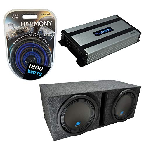 "Universal Car Stereo Vented Port Dual 12"" Alpine Bundle Type S S-W12D2 Sub Box Enclosure with Harmony HA-A800.1 Amplifier & 4GA Amp Kit"