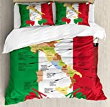 Lunarable Sicily Duvet Cover Set, Italy Gastronomic Map Image Showing Grape Producing Regions and Local Wine Varieties, Decorative 3 Piece Bedding Set with 2 Pillow Shams, California King, Multicolor