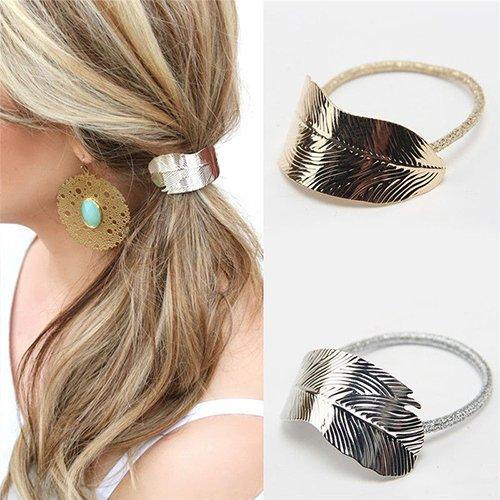 Bodhi2000, 2 x fasce elastiche per capelli per donna/ragazza, corda elastica per coda, elastico con decorazione a foglia