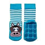 Weri Spezials Baby & Kinder Voll-ABS Frotee Anti-Rutsch Socken für Mädchen & Jungen in verschiedenen Variationen (27-30, Mittelblau Pferdchen)