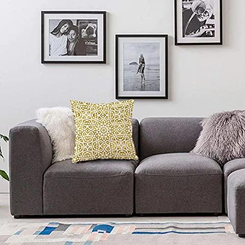 Bedsure Funda Cojin 45 x 45cmOro y Blanco, diseño árabe Abstracto Oriental marroquí geométrico azulejo impresión artística decFunda de Almohada Cuadrada para Sofá, Dormitorio y Sala de Estar