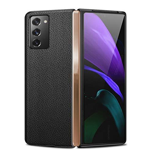 MMCZ per Samsung Galaxy Z Fold 2 5g Custodia Rigida in Pelle Ibrida Antiurto, Cover per Telefono, Custodia Protettiva Anti-Caduta Ultra Sottile (Litchi Black)
