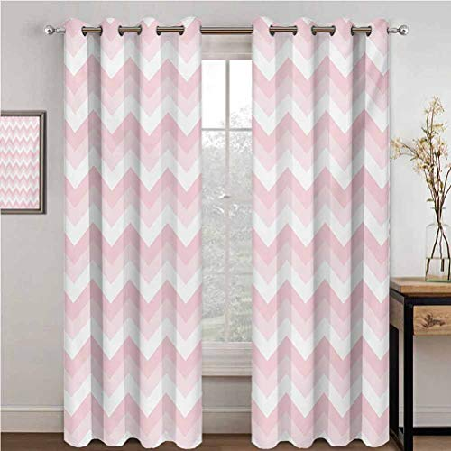 Chevron 100% Blackout Lining Curtain Zigzag Chevron Grunge Pattern in Soft Colors Simplicity Artful Design Full Shading Treatment Kitchen Insulation Curtain W84 x L108 Inch Rose Pale Pink White