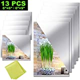 12 Pieces Self Adhesive Acrylic Mirror Sheets, Flexible Non Glass Mirror Tiles Mirror Stickers for Home Wall Decor, 6' x 6' and 6' x 9'