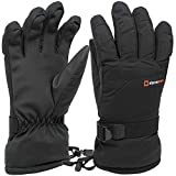 Alpine Swiss Mens Waterproof Gauntlet Ski Gloves Winter Sport Snowboarding Windproof Warm 3M Thinsulate BLK LG