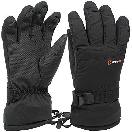 Alpine Swiss Mens Waterproof Gauntlet Ski Gloves Winter Sport Snowboarding Windproof Warm 3M Thinsulate BLK MED