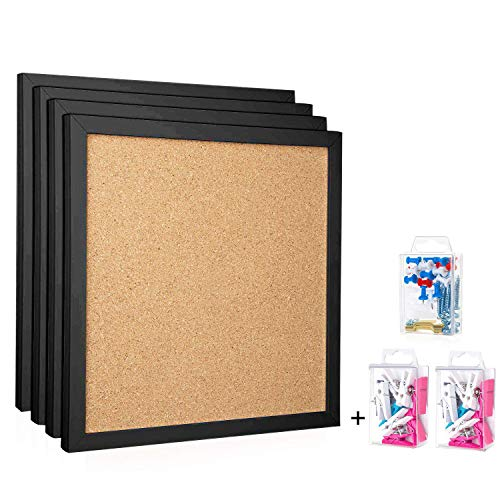 """HBlife Cork Board Bulletin Board 12""""X 12"""" Square Wall Tiles,Modern Black Framed Corkboard for School, Home & Office (Set Including 20 Push Pins,Hardware and Template)"""