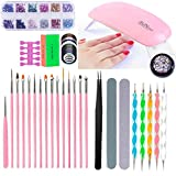 Kit de lámpara LED UV con USB, 12 colores, barniz semipermanente, esmalte de uñas en gel, base de remojo, diamantes de imitación, decoración, kit de manicura para decoración de uñas (C)