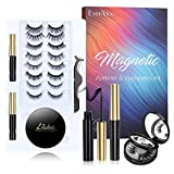 Magnetic Eyelashes with Eyeliner Kit, EverNice 10 Pairs Eyelashes Magnetic 2021 Upgraded 3D Natural Waterproof Reusable Eyelashes Kit with Mirror Box, False Eyelashes and Eyeliner