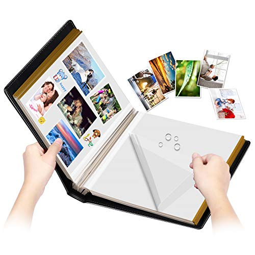 Photo Album Self-Adhesive, 100 Pages Sticky Page, Leather Cover, Magnetic Scrapbook Family Albums for Christmas Gifts, Birthday Wedding Memory Photo Book 4X6, 5X7, 6X8,8X10 (Big Black -100 Pages)