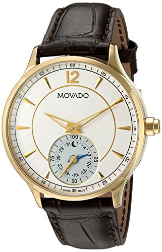 Movado Men's Swiss Quartz Gold-Tone and Leather Watch, Color:Brown (Model: 0660008)