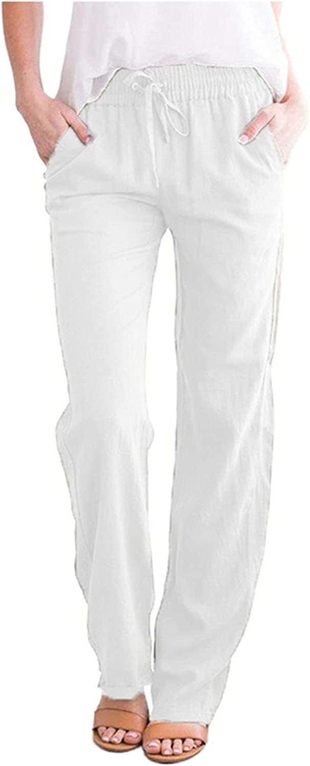 KIMOH Women's Cotton Linen Pants Drawstring Elastic Waist Wide Leg Solid Color Baggy Casual Straight Trousers with Pockets