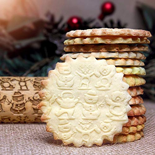 Aliturtle Wooden Embossed Rolling Pins, Santa Claus & Snowman Christmas Symbols Engraved Carved Embossing Wood Dough Roller for Baking Dough, Chapati, Pizza, Pie, Fondant, Pastries, Pasta and Cookies