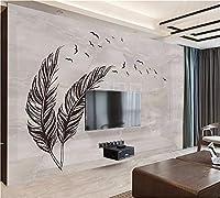 Weaeo カスタム3D壁モダンシンプルな手描きのブラックグレーフェザーフライングバードマーブルリビングルームの壁紙-400X280Cm