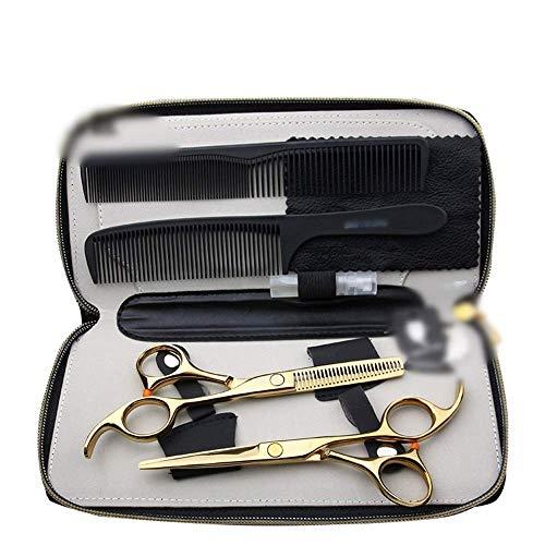ZHANGYY Schere, 5,5-Zoll-Friseur Goldene Schere, Flache + Zahnschere (Farbe: Gold) Styling-Werkzeuge