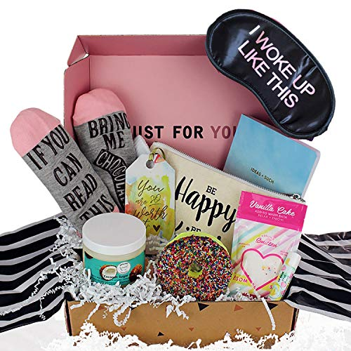 Milky Chic Special Womens Birthday Gift Box Basket Set for Mom, Wife, Sister, Friend, Pack of 8 Fun Unique -Holiday Gift Set for Christmas