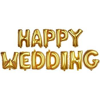 パーティーパーク HAPPY WEDDING アルファベット バルーン ゴールド 金 結婚式 ウェディング 二次会 ハッピー ブライダル 飾り付け 装飾 デコレーション