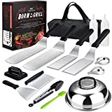 Griddle Accessories,15 Pcs Flat-top Grilling Accessories,Stainless Steel BBQ Accessories with Spatula, Slotted Spatula,Basting Cover, Chopper,Scraper,Egg Mold for Men Women Outdoor Yard Camping