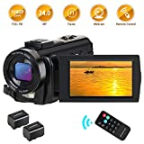 CamVeo Video Camera Camcorder, Camcorder HD 1080P 24MP 16X Digital Zoom 3.0 Inch